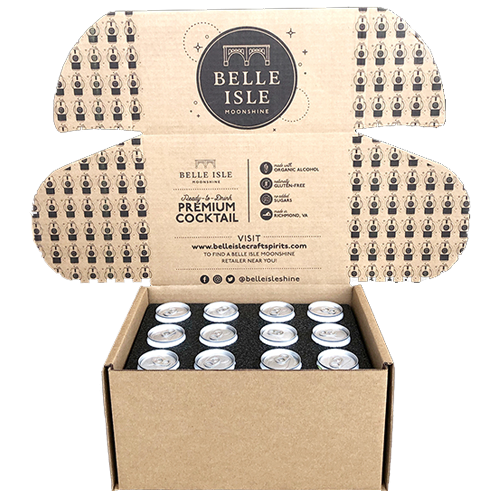 Belle Isle Moonshine custom boxes for shipping canned cocktails